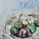 Fruits, acryl op 3d-doek 30x30cm 2007 Yvonne Kieft