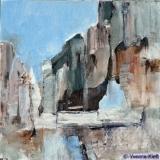 Verval II, acryl op doek 30x30x3,5 Yvonne Kieft 2007