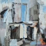Verval III, acryl op doek 30x30x3,5 Yvonne Kieft 2007