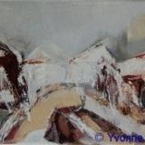 Landschappelijk; Dorpsplein, acryl op doek 13x10cm. Yvonne Kieft 2009