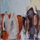 Landschappelijk I, acryl op doek 10x10cm. ●Yvonne Kieft 2009