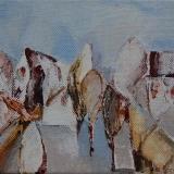 Landschappelijk; Het Dorp acryl op doek 13x10cm. ●Yvonne Kieft 2009