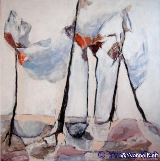 Bomen in Bonassola, acryl doek 50x50 cm. Yvonne Kieft 2009