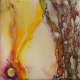 ●Florale XI e olieverf op doekje 10x10 Y.Kieft 2011