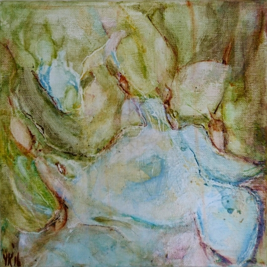 Traces II, olieverf op doek 24x24cm. 2016 Yvonne Kieft