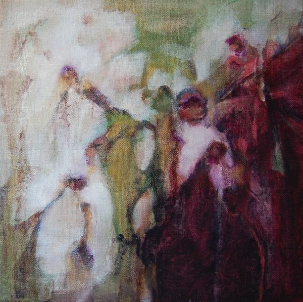 Florale I, olieverf op doek 30x30 Yvonne Kieft 2011