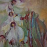 Florale II, olieverf op doek 30x30 Yvonne Kieft 2011