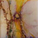Florale XI d olieverf op doekje 10x10 Y.Kieft 2011