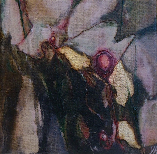 Florale XII-2, olieverf gem. techn. doek 20x20 2012 Yvonne Kieft