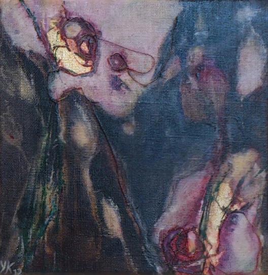 Florale XII-3, olieverf gem. techn. doek 20x20 2012 Yvonne Kieft