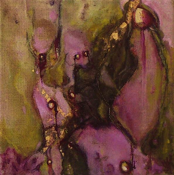 Florale XIII-2, olieverf gem. techn. doek 20x20 2012 Yvonne Kieft