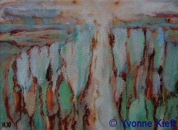 Landschap II, olieverf op doek 18x24 cm. Yvonne Kieft 2010