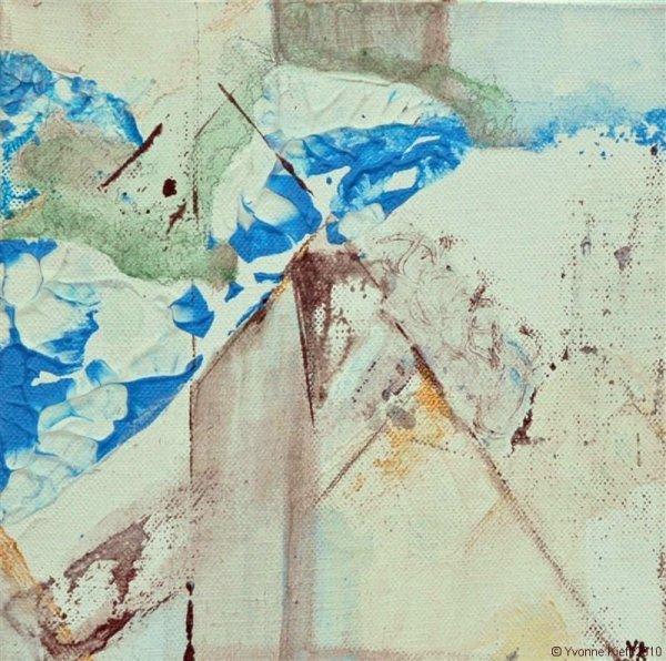 In de kas II (2-luik) acryl 20x20x3,5 cm. Yvonne Kieft 2007