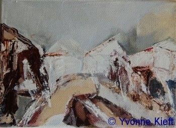 Landschappelijk; Het Dorpsplein; acryl 13x10 cm. 2009