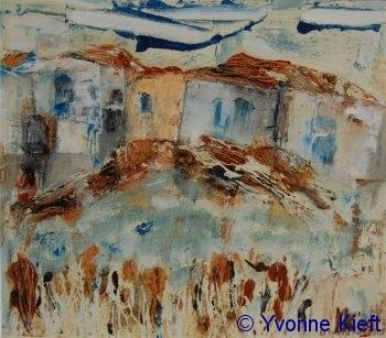 Dorp I olieverf gem. techn. papier 18x15 cm. ●Yvonne Keft 2009