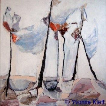 Bomen in Bonassola, acryl doek 50x50 cm. ●Yvonne Kieft 2009
