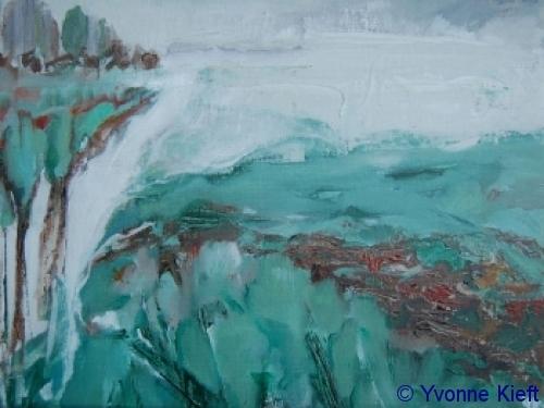 Witte Wieven I Friesland, olieverf op doek 18x24 cm. yvonne Kieft 2010
