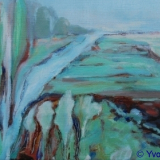 Witte Wieven II Friesland, olieverf op doek 18x24 cm. yvonne Kieft 2010