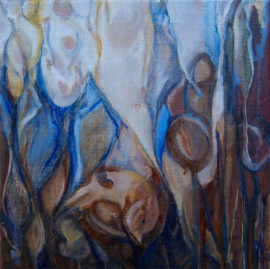 Landschap en vogel olieverf op doek 30x30 Yvonne Kieft 2012