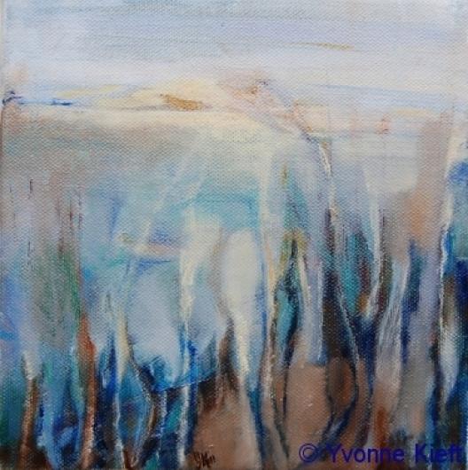 Landschap I 2011, olieverf op doek 20x20x3 ●Yvonne Kieft