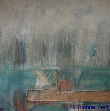 Nes ad Amstel II 55x55 acryl op oud zeildoek 2010 Y. Kieft