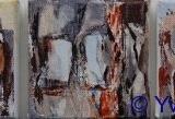 Landschappelijk III acryl 10x10 cm. Yvonne Kieft 2009