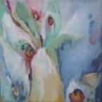 Florale V olieverf op doek 30x30 cm. Yvonne Kieft